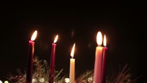 Pushing in on Advent candles and wreath - 2 Shots