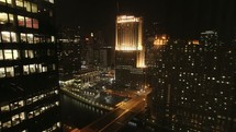 time-lapse Chicago at night