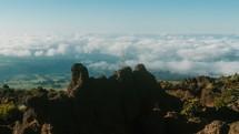 clouds moving over Haleakala volcanic field