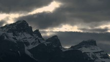 gloomy sky over a mountain peak