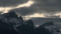 gloomy sky over a mountain peak