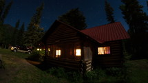 Timelapse of an evening at a log cabin.