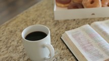 grabbing a donut before Bible study