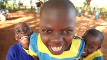 laughing children in Kenya
