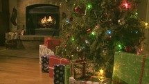 fireplace and Christmas tree and presents