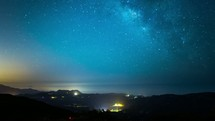 Timelapse of the Milky Way galaxy of stars moving through the night sky over the Pacific Ocean.