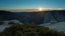 Timelapse of sunset in Yosemite National Park from the granite cliffs of Taft Point overlooking Yosemite Valley.