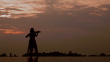 silhouette of a woman playing a violin