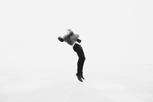 a man leaping into the air
