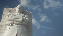 Sculpture of Martin Luther King Jr. - Timelapse - Clouds moving slowing in the background