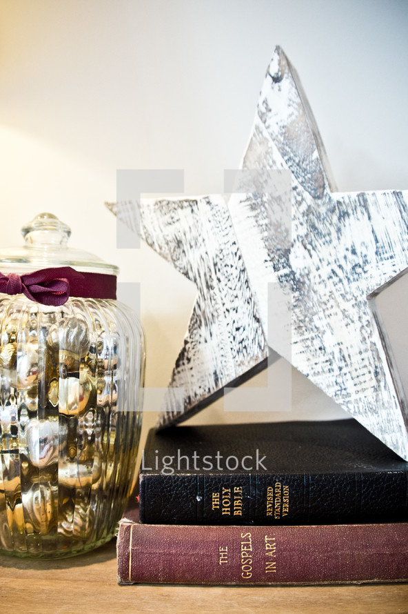 Christmas scene, star, ornaments, Bible, book the gospels in art