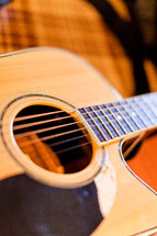 Closeup of an acoustic guitar