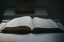 open Bible on a stand