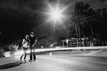 Happy couple in street