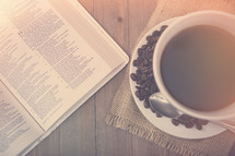 Bible study and coffee background