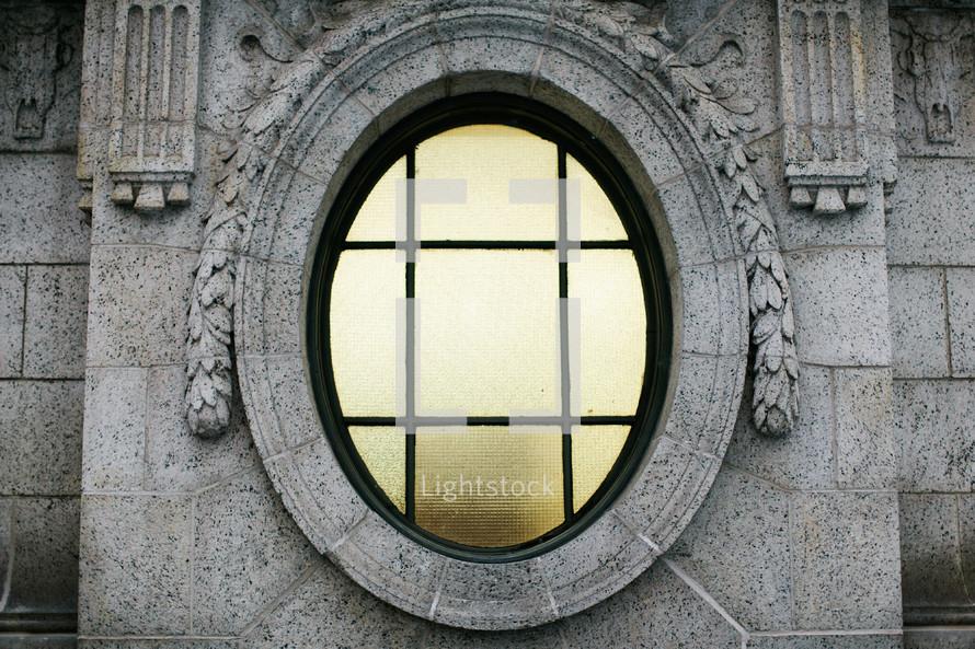 Stone church building window