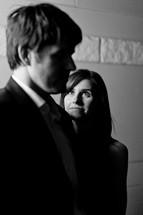 woman looking up at a man