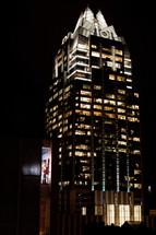 lights on a skyscraper at night