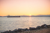 barge at sunset