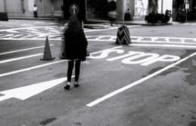 pedestrian walking on a street