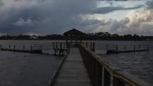water flowing under a dock