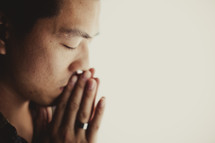 A man deep in prayer