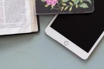 open Bible, iPad, journal