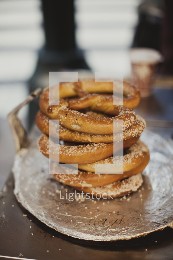 Stack of pretzels on a plate