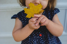 a toddler girl holding a fall leaf