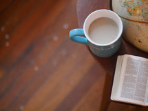 coffee mug, globe, and Bible