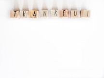 word thankful on wood blocks