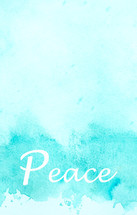 word peace in blue water color