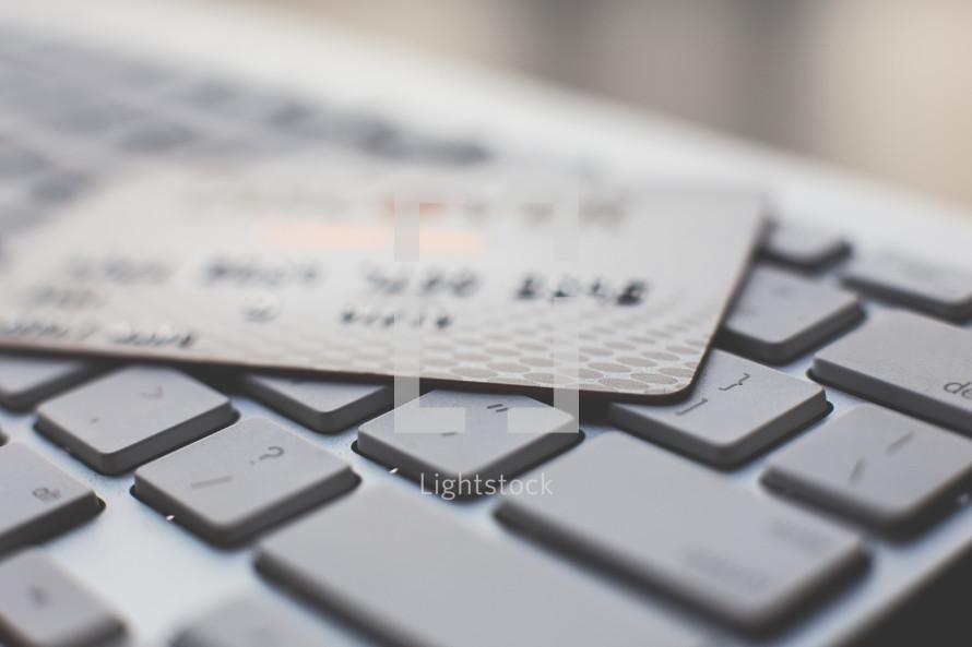 credit card on a keyboard