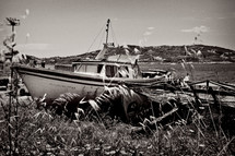 beached boat in the grass