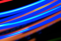 streaks of red and blue light