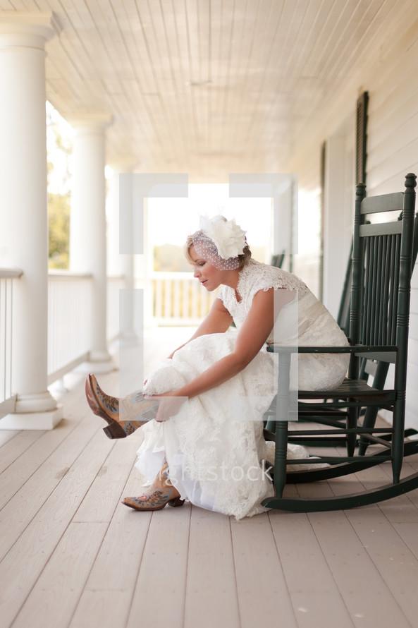 Bride wearing cowboy boots