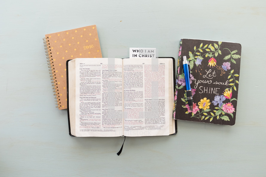 who I am in Christ, pages, open Bible, Bible, words, open Bible, journal, Bible study, prayer group