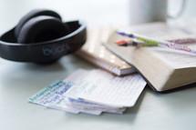 headphones, notecards, prayer requests, pens, Bible, Bible study, Beats headphones, notebook, journal, prayer group