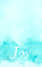 word joy on blue water color