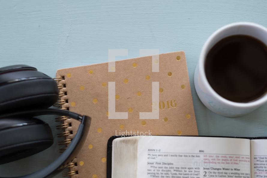 headphones, Bible, Bible study, notebook, journal, coffee mug, coffee