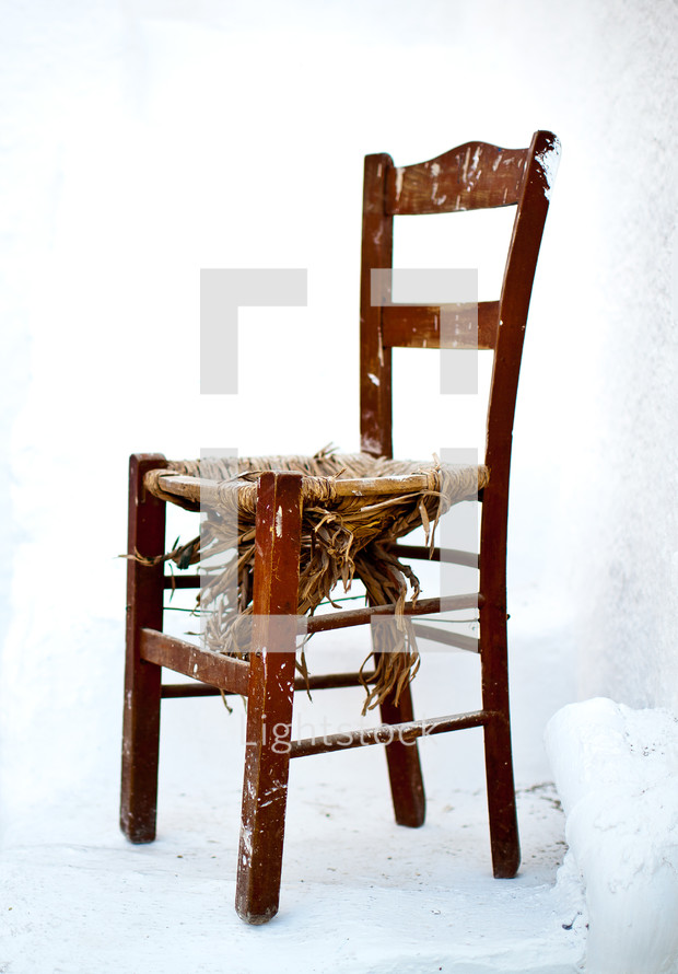 broken seat in a chair