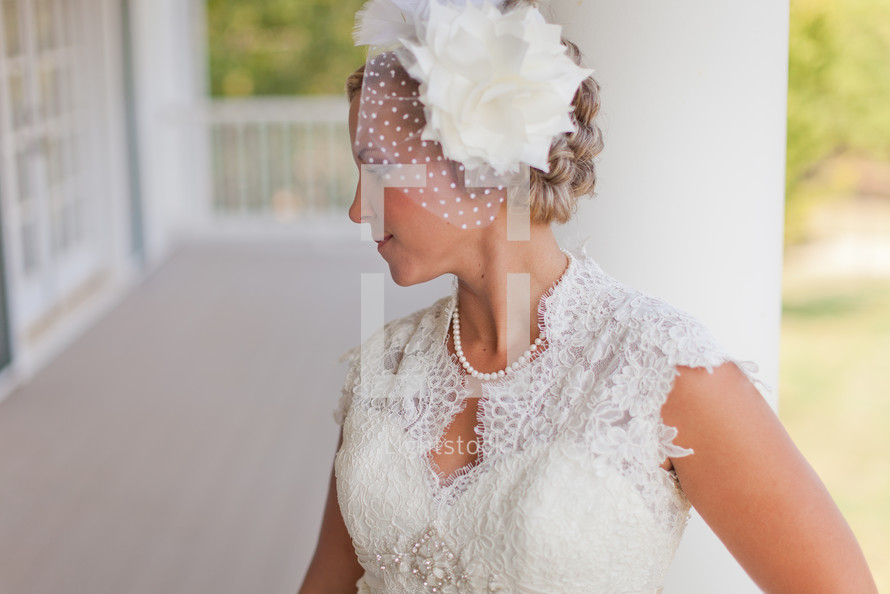 Profile of bride with veil