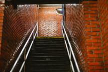 stairway in a brick building