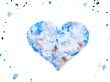 heart shape in blue water color