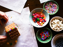 bowls of candy for decorating a gingerbread house