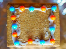 decorated a gingerbread house at Christmas