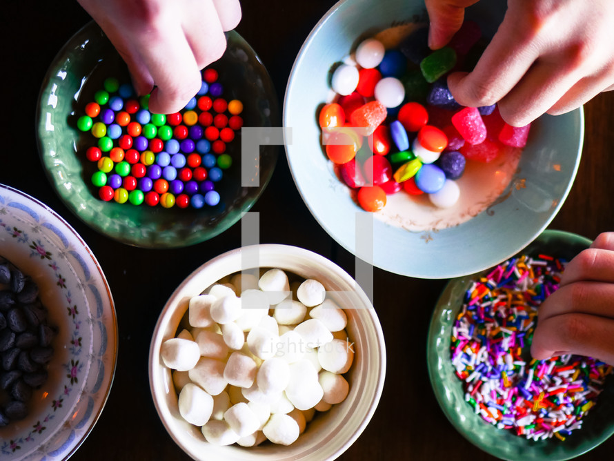 bowls of candy for a gingerbread houses
