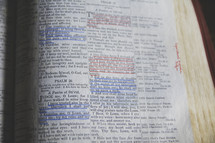 underlined scripture on the pages of a Bible