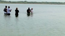 Baptism in the lake.