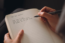 New Year's resolutions written in a journal.
